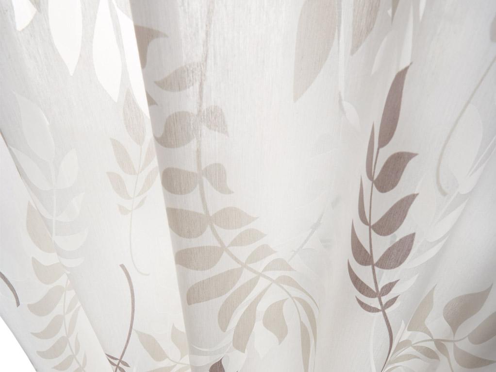 Gardine dünn, weiss, mit braunen Blätter Muster