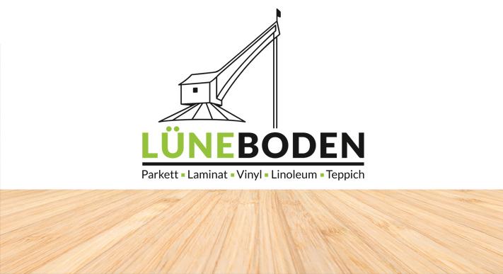 Lueneboden Logo auf weiße Wand mit Holzfußboden