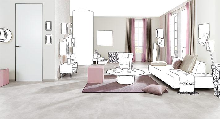 wohnzimmer rosa, konzept mit weißen elementen