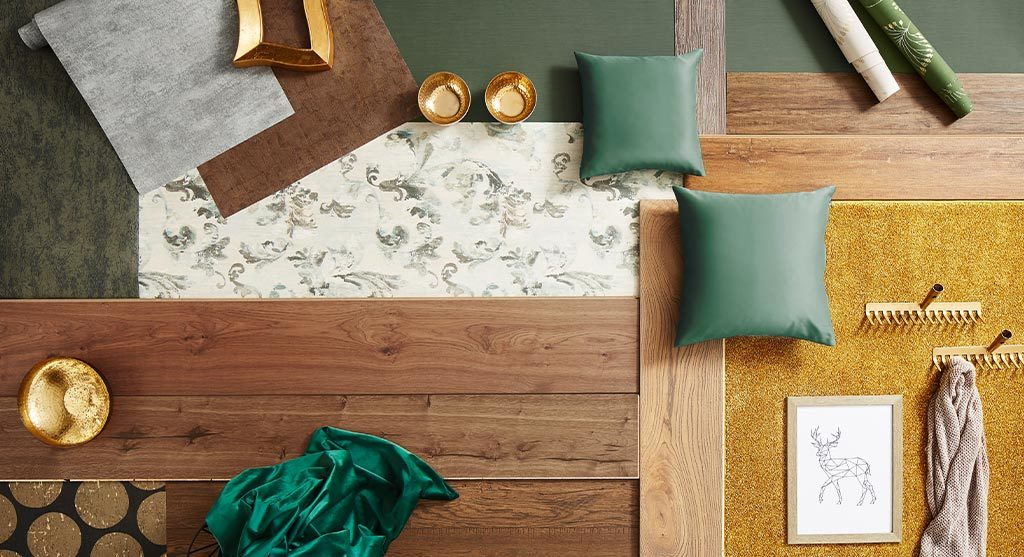inspirationsbild gelb, grün mit kissen, teppichen,deko, parket