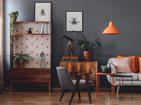 Dunkle Holzeinrichtung Wohnzimmer